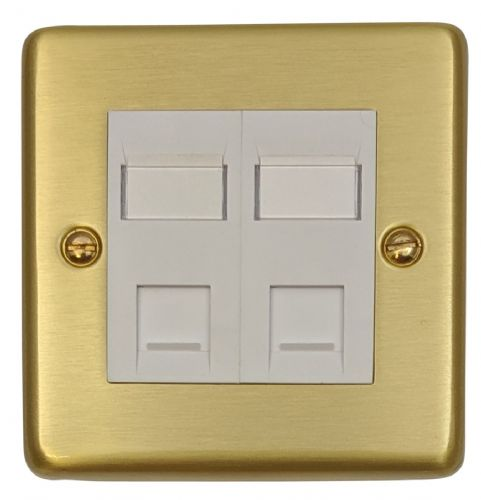 G&H CSB64W Standard Plate Satin Brushed Brass 2 Gang Slave BT Telephone Socket